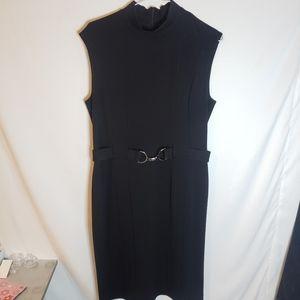 Suzy shier mock neck belted fitted black dress L